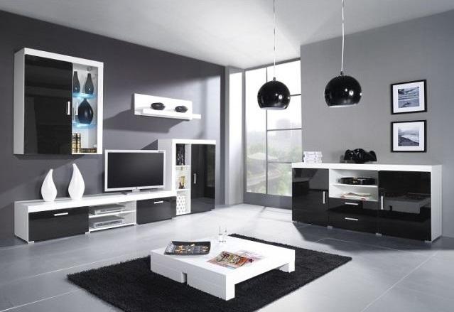 Artcam Obývacia stena SAMBA A Farba: biela/čierny lesk
