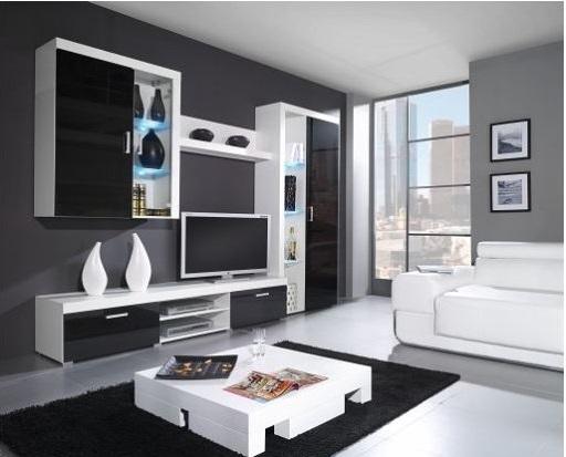 Artcam Obývacia stena SAMBA B Farba: biela/čierny lesk