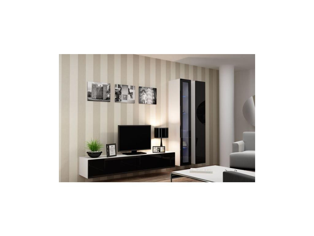 Artcam Obývacia stena Vigo III Farba: biela/čierny lesk