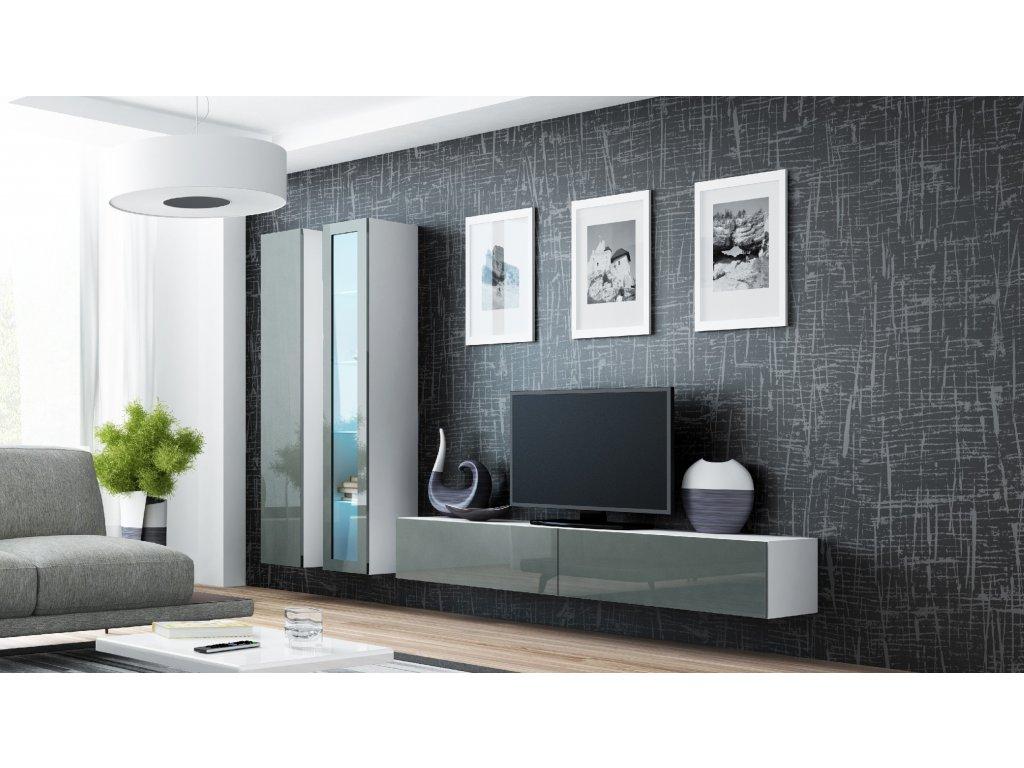 Artcam Obývacia stena Vigo III Farba: Biela/sivý lesk