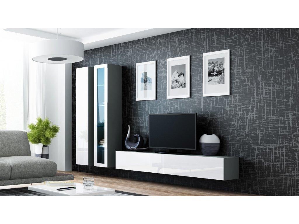 Artcam Obývacia stena Vigo III Farba: Sivá/biely lesk