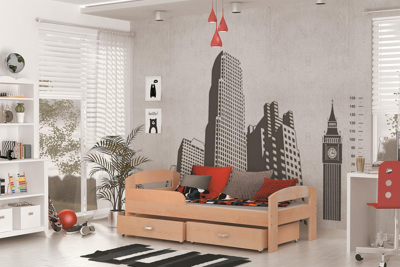 ArtAJ Detská posteľ GRZES 180x80 farebné prevedenie: borovica s matracom