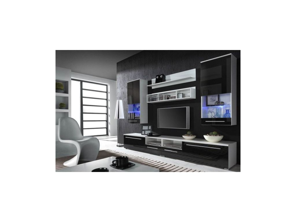 Artcam Obývacia stena Luna Farba: biela/čierny lesk