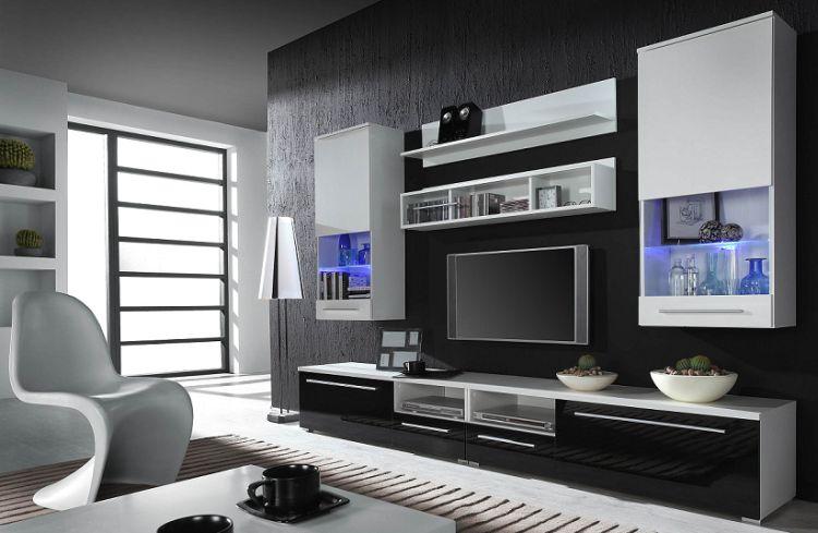 Artcam Obývacia stena Luna Farba: biela/biely,čierny lesk