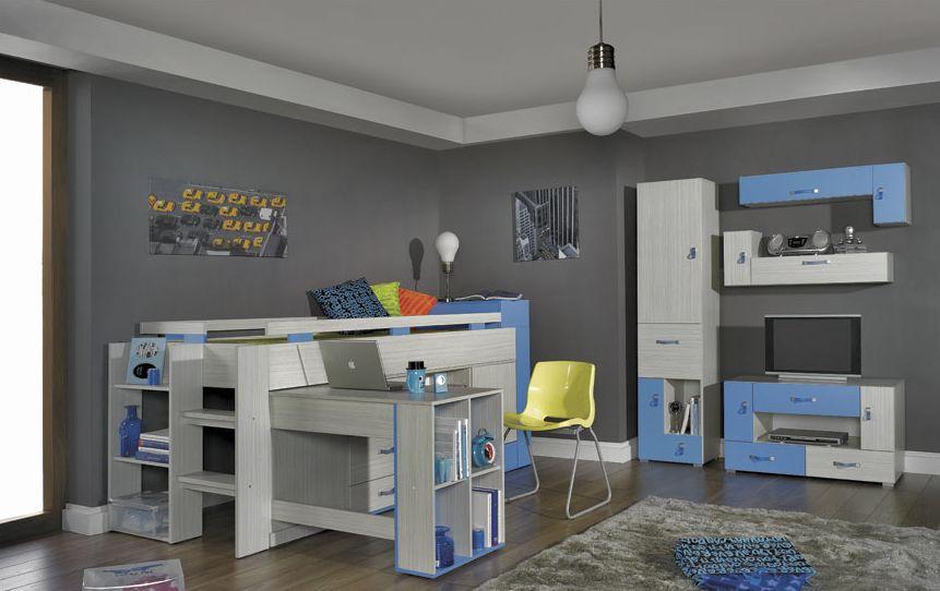 Detská izba Komi B modrá Komi: Komoda KM8 modrá / š. 90 x v. 85,5 x h. 40 cm
