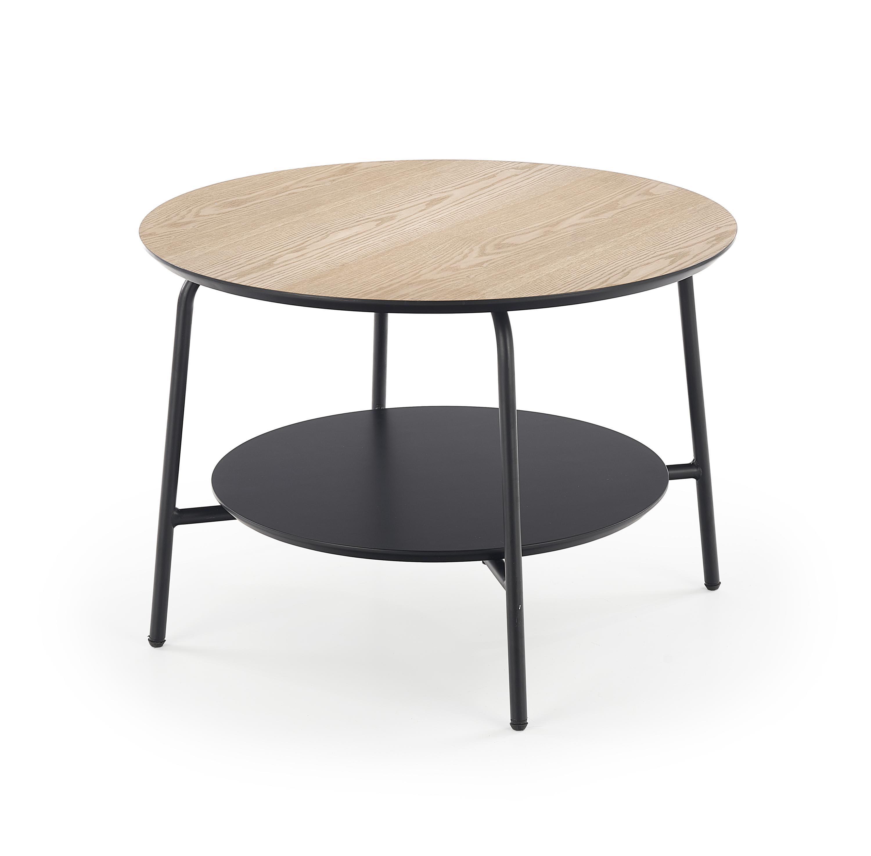 Konferenčný stolík: HALMAR GENUA LAW-3 HALMAR - drevo: jaseň, HALMAR - sklo/kov: kov čierny