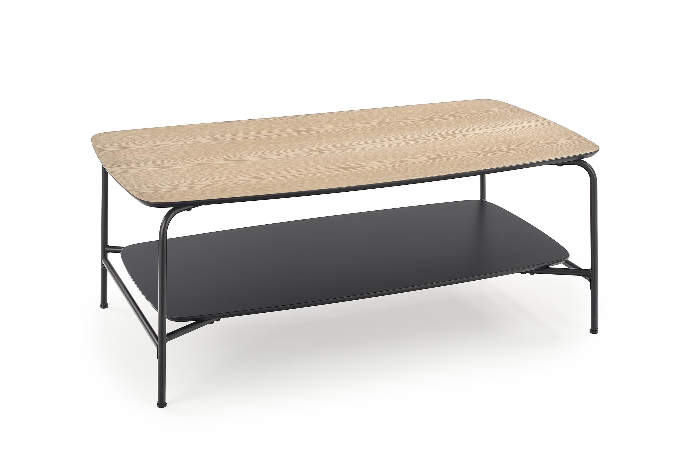 Konferenčný stolík: HALMAR GENUA LAW-2 HALMAR - drevo: jaseň, HALMAR - sklo/kov: kov čierny