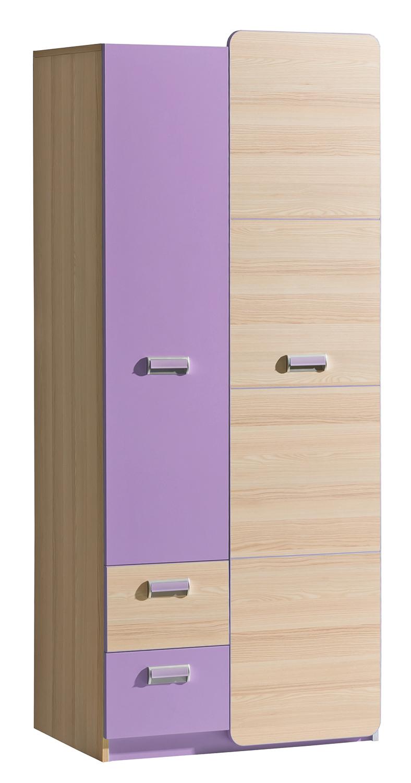 Dolmar Šatníková skriňa Lorento L1 Farba: Jaseň coimbra / fialová