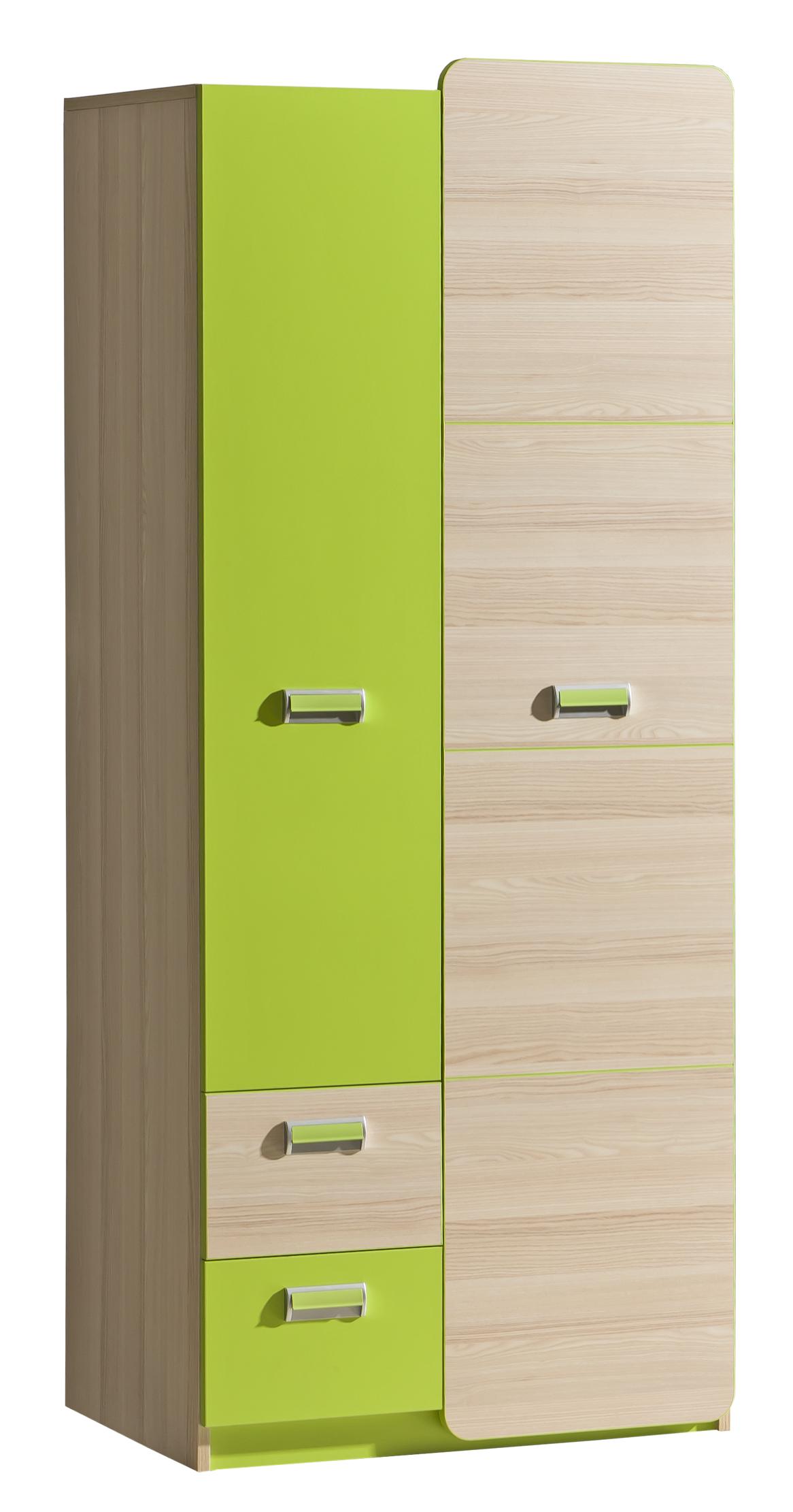 Dolmar Šatníková skriňa Lorento L1 Farba: Jaseň coimbra / zelená