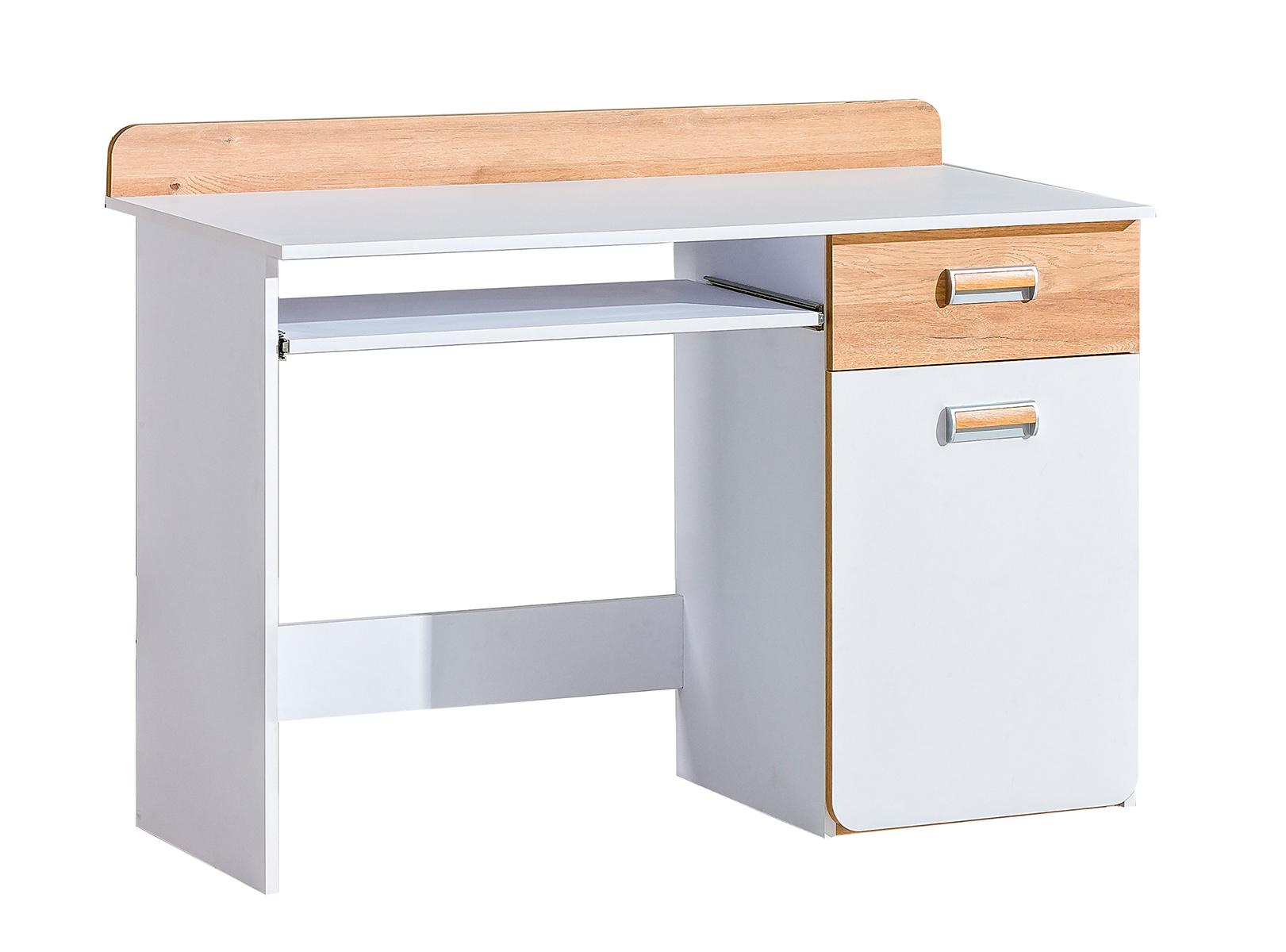 Dolmar Písací stolík Lorento L10 Farba: Biely briliant / dub nash