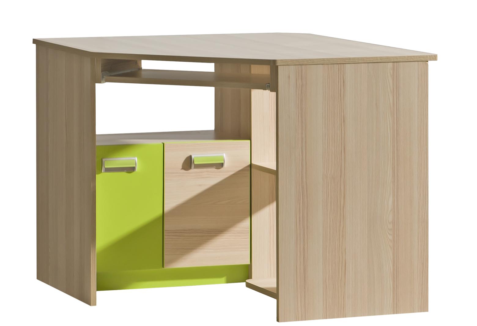 Dolmar Rohový písací stolík Lorento L11 Farba: Jaseň coimbra / zelená