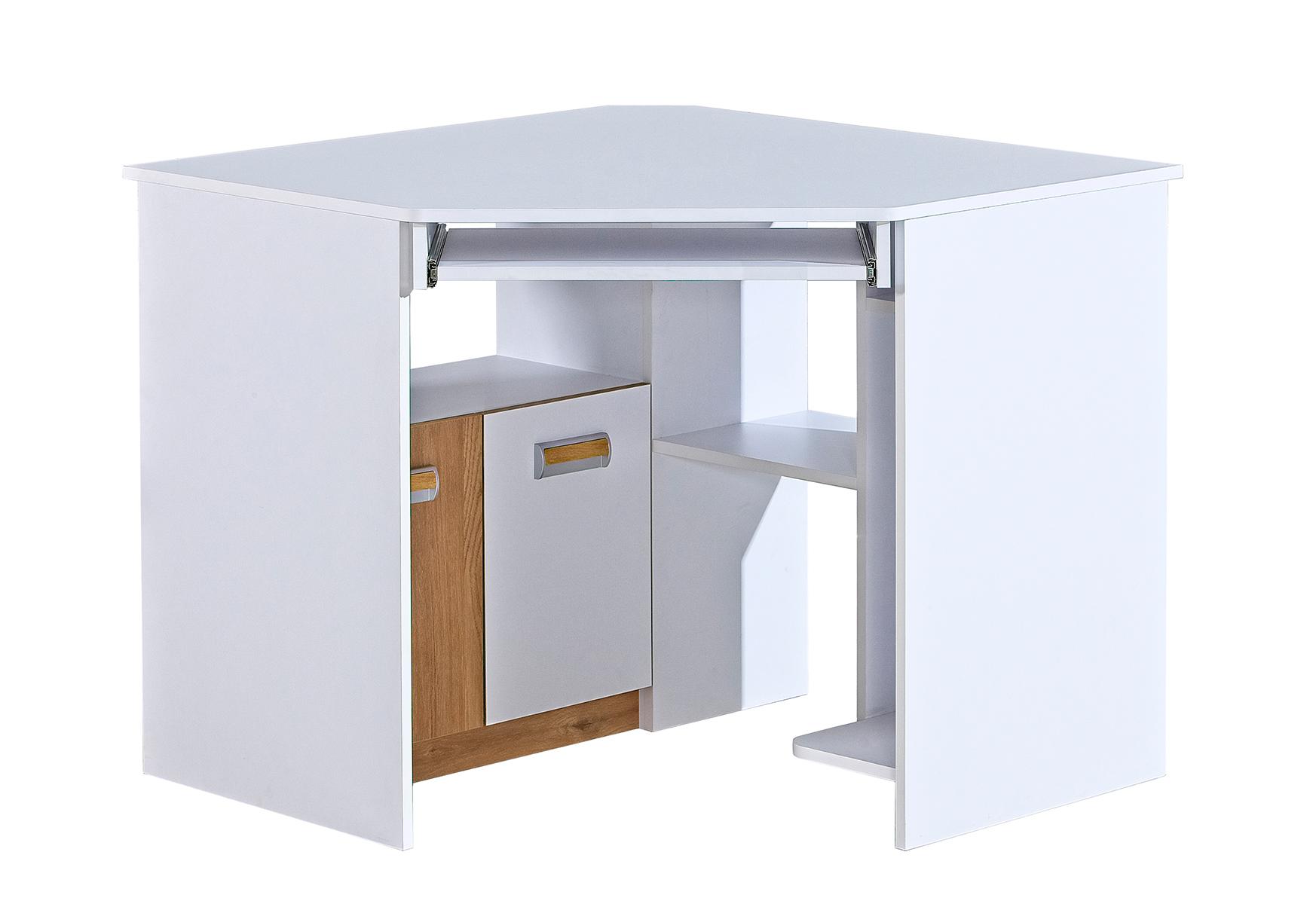 Dolmar Rohový písací stolík Lorento L11 Farba: Biely briliant / dub nash