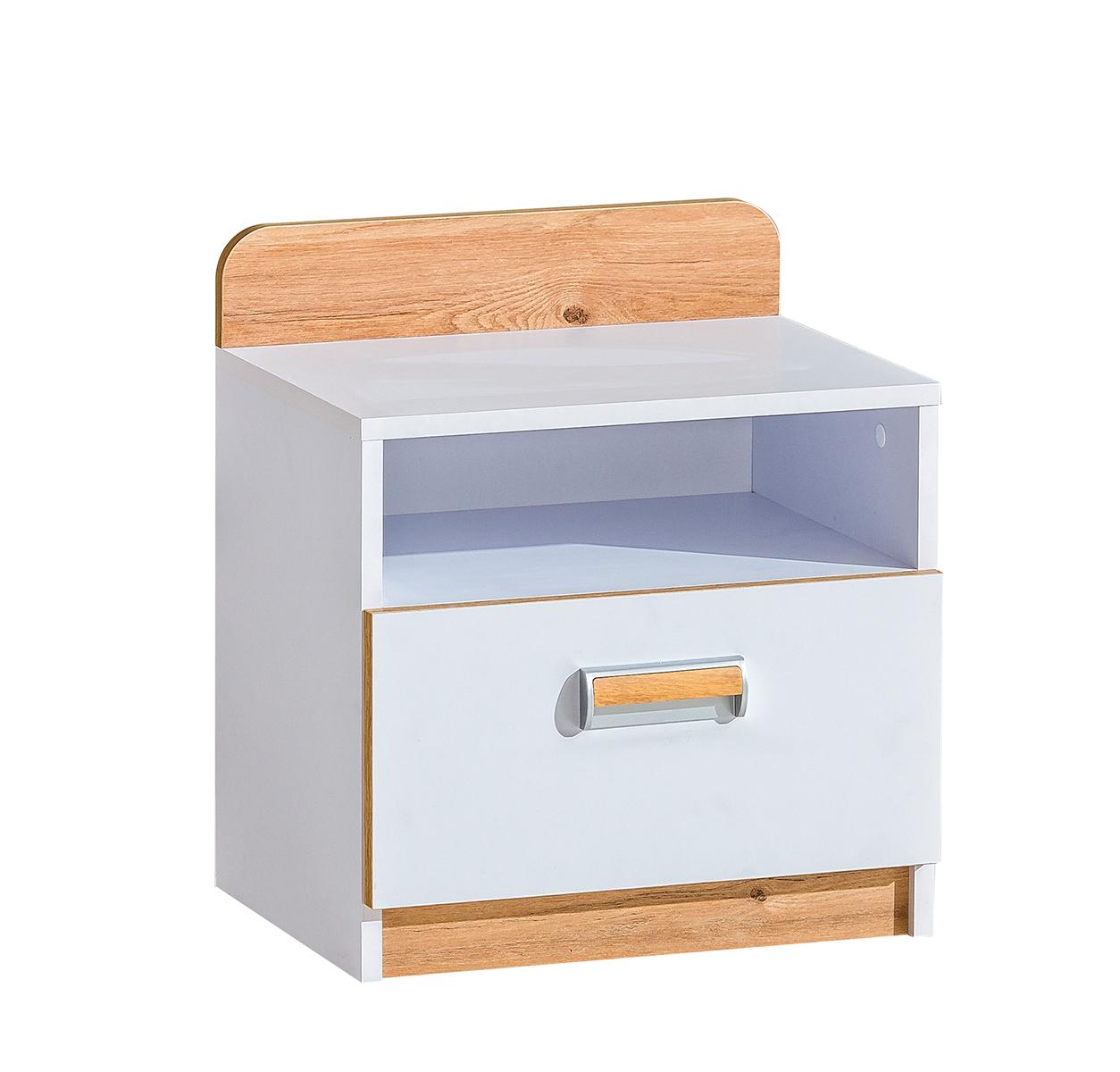 Dolmar Nočný stolík Lorento L12 Farba: Biely briliant / dub nash