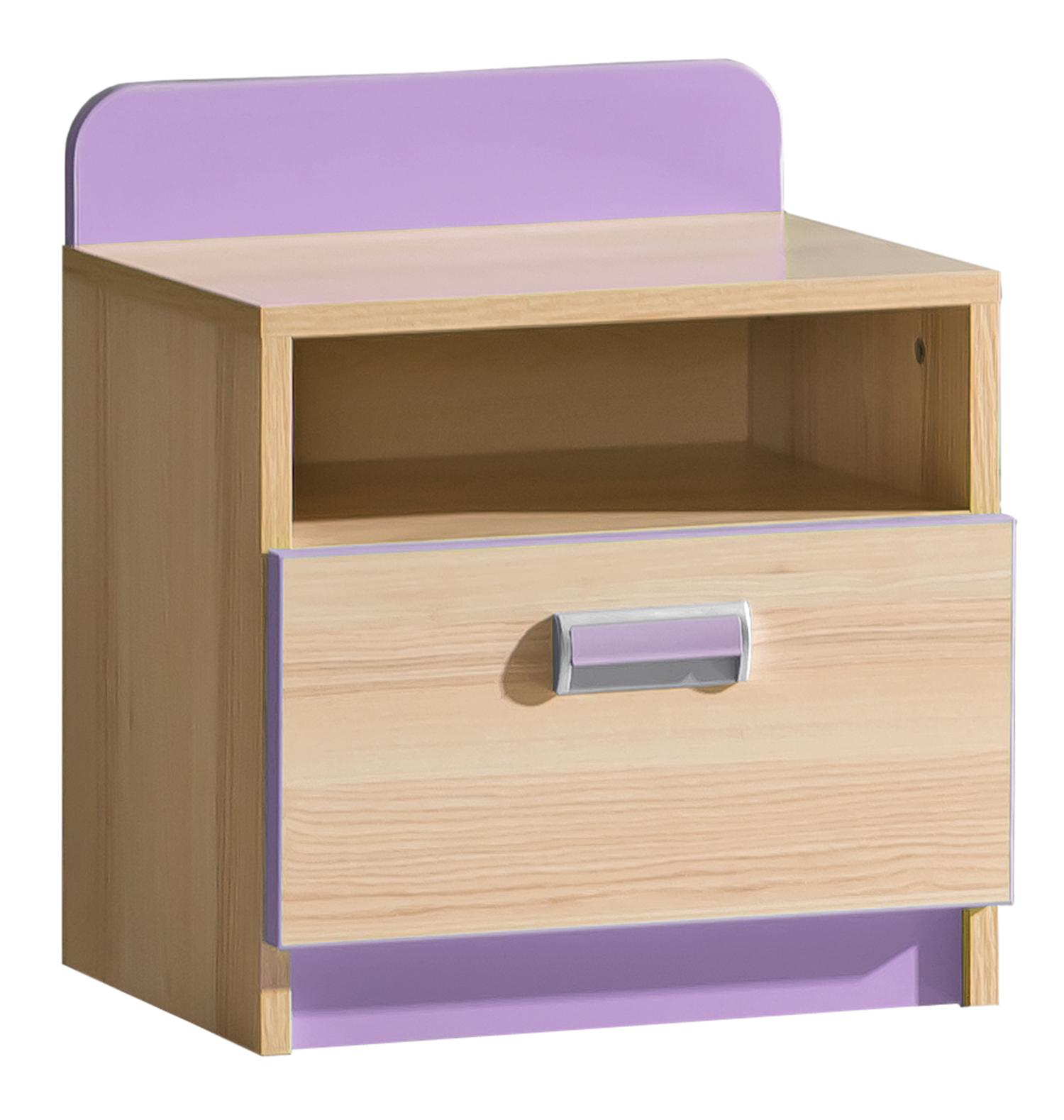 Dolmar Nočný stolík Lorento L12 Farba: Jaseň coimbra / fialová