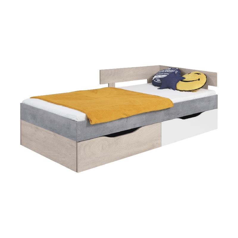 Meblar Posteľ Sigma SI15 Farba: beton/biela/dub