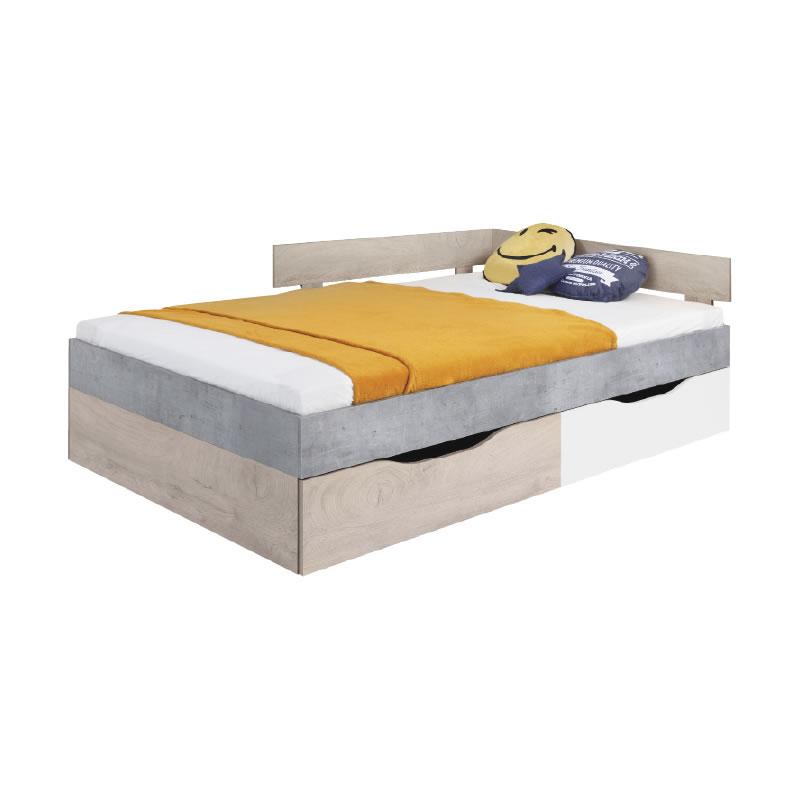 Meblar Posteľ Sigma SI16 Farba: beton/biela/dub