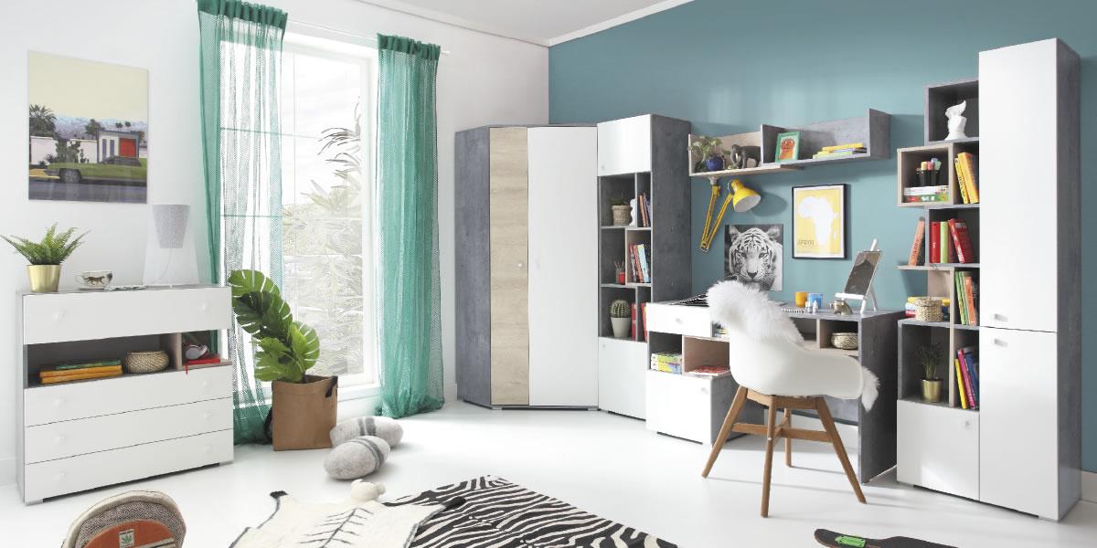 Meblar Detská izba Sigma D Farba: beton/biela/dub