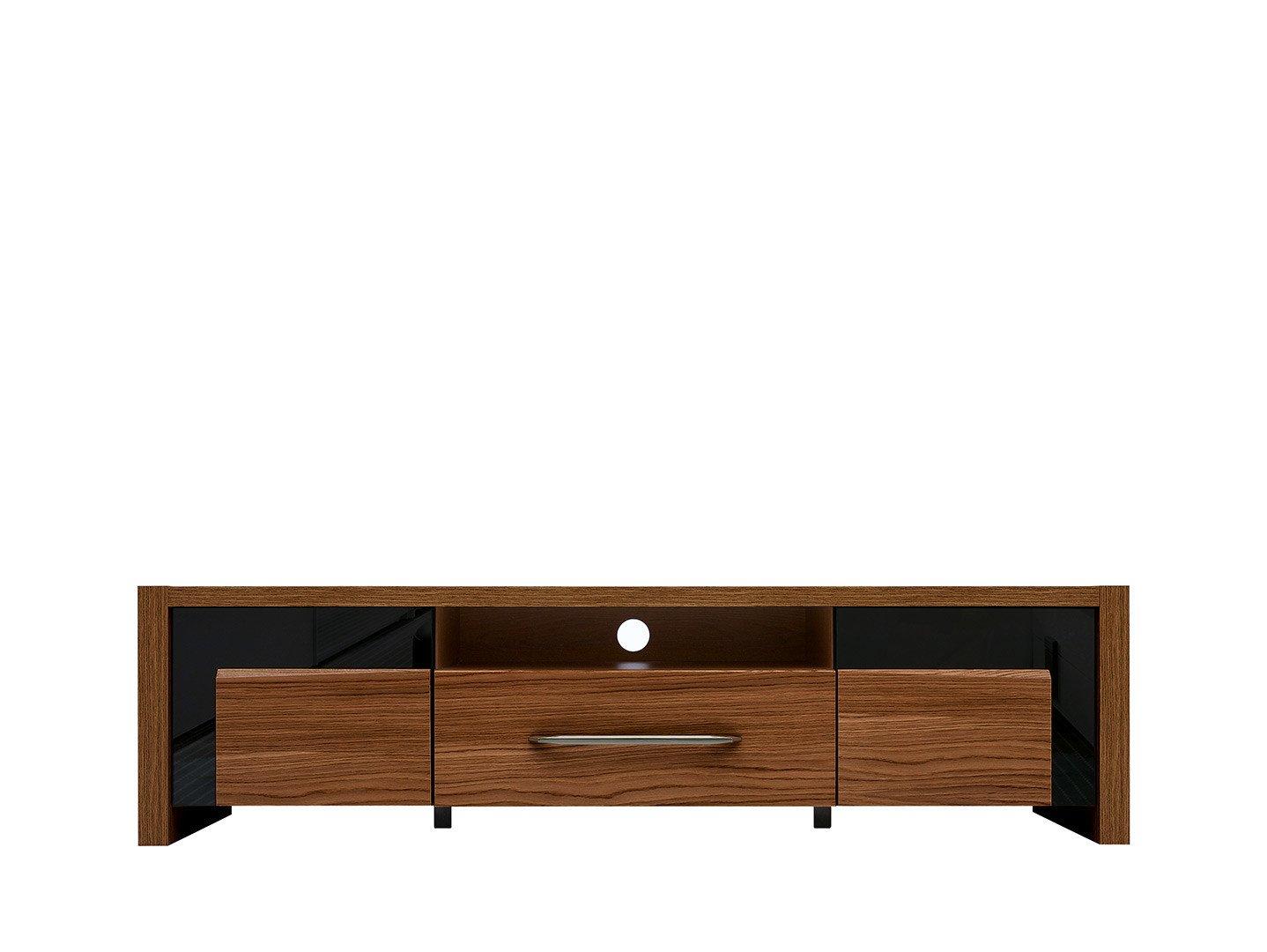 BRW TV stolík: AROSA - RTV2D1S Farba: dub hnedý / čierny lesk