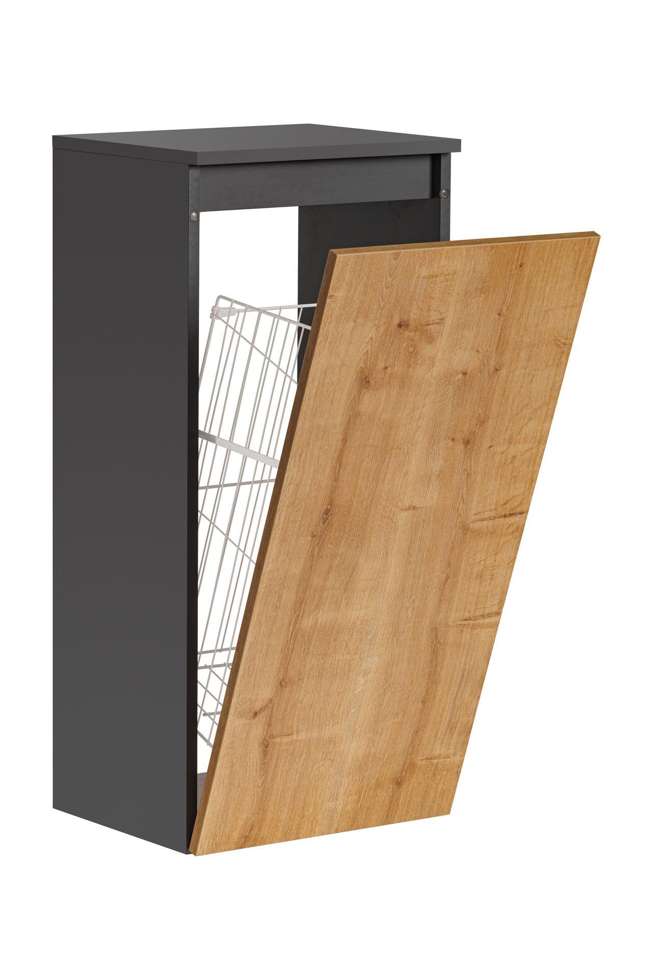 ArtCom Kúpeľňová zostava MONAKO Grey Oak Monako: Skrinka s košom 811 - 87 x 40 x 33 cm