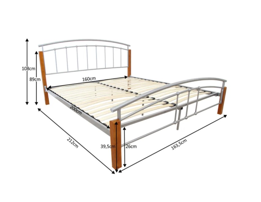 Tempo Kondela Manželská posteľ MIRELA MIRELA: Manželská posteľ / strieborný kov / prírodné drevo-jelša / 160 x 200 cm