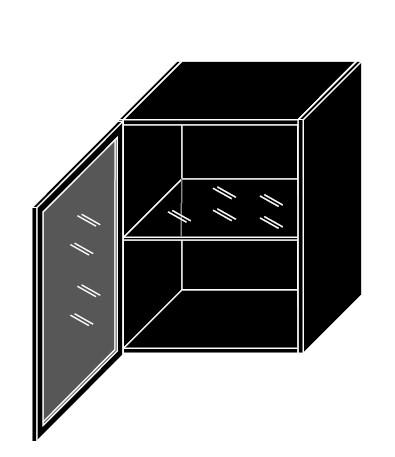 ArtExt Kuchynská skrinka horná, W3S/60 Black Alu