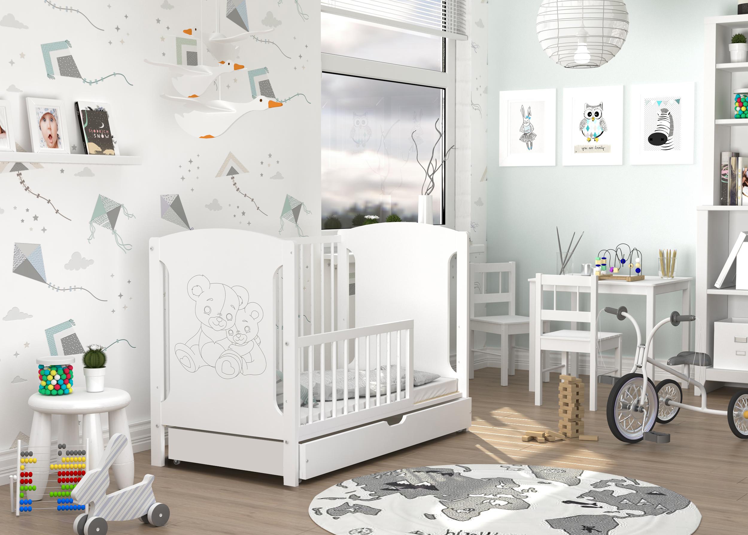 ArtAJ Detská postieľka TOLA Prevedenie Tola: biela/biela - dvaja mackovia + zásuvka