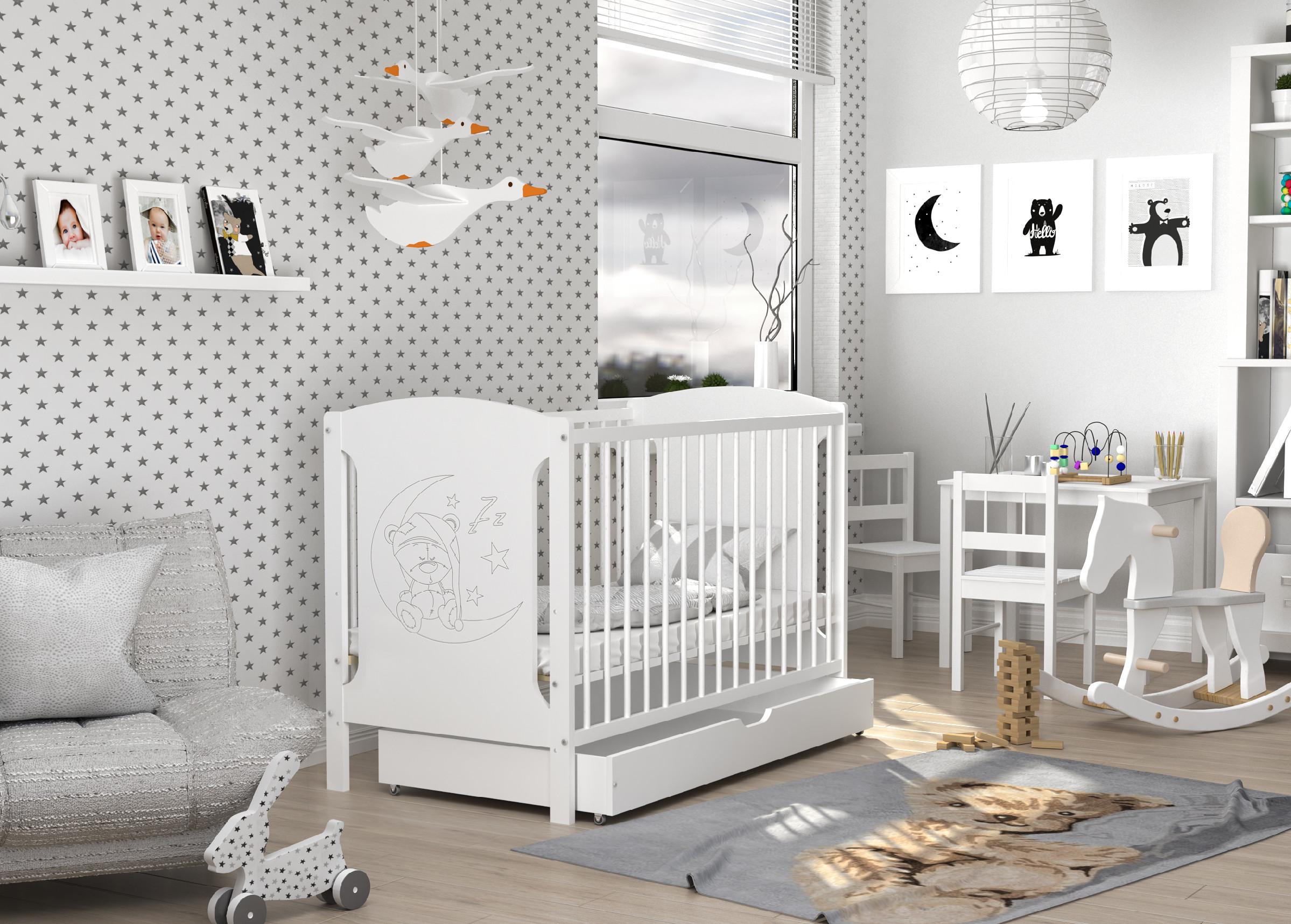 ArtAJ Detská postieľka TOLA Prevedenie Tola: biela/biela - spiaci macko + zásuvka