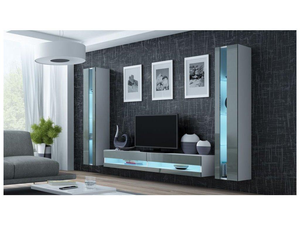 Artcam Obývacia stena Vigo III new Farba: Biela/sivý lesk