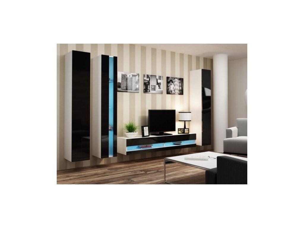 Artcam Obývacia stena Vigo VII new Farba: biela/čierny lesk
