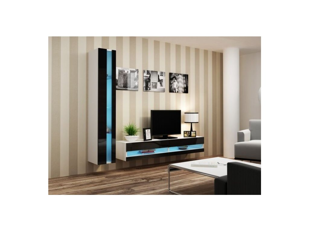 Artcam Obývacia stena Vigo VIII new Farba: biela/čierny lesk