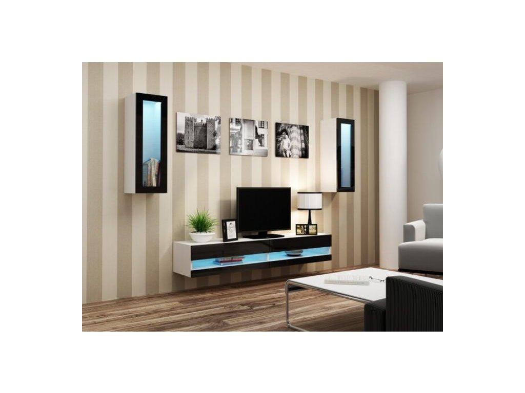 Artcam Obývacia stena Vigo XI new Farba: biela/čierny lesk