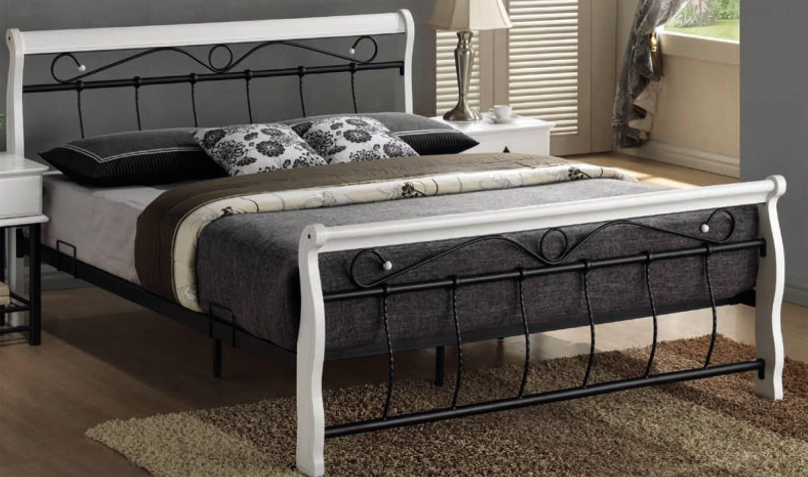 Signal Manželská posteľ VENECJA bielo-čierna 160x200