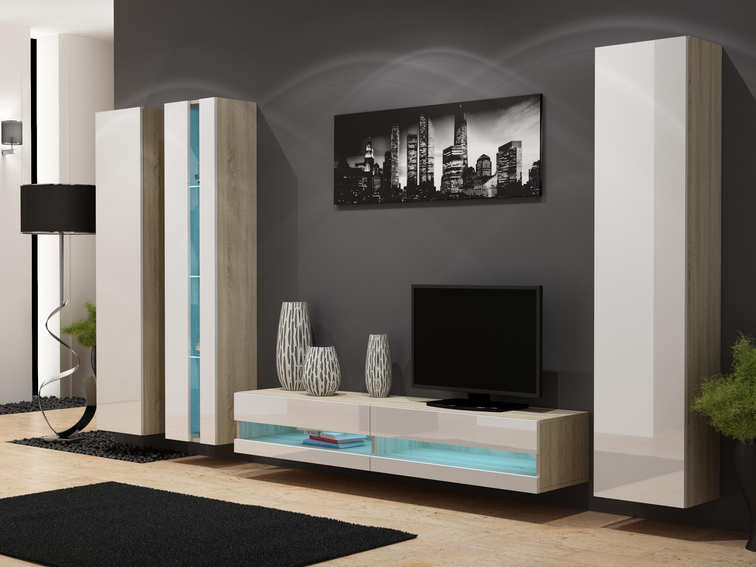 Artcam Obývacia stena VIGO NEW 7 dub sonoma/biely lesk