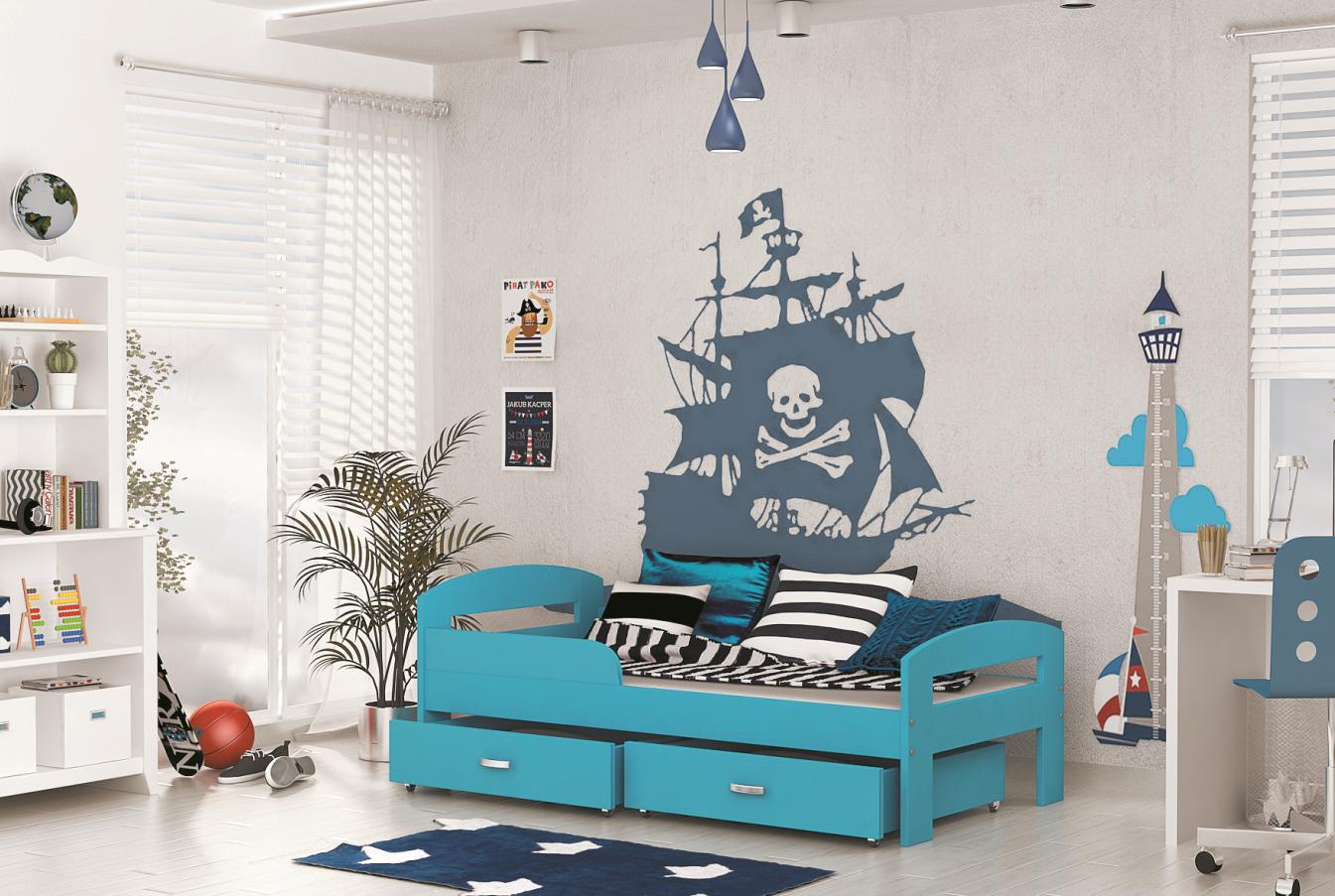 ArtAJ Detská posteľ GRZES 160x80 farebné prevedenie: blankytná s matracom