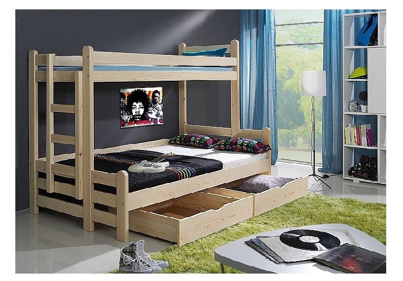 ArtBed Detská poschodová posteľ Beniamin II Prevedenie: Borovica prírodná