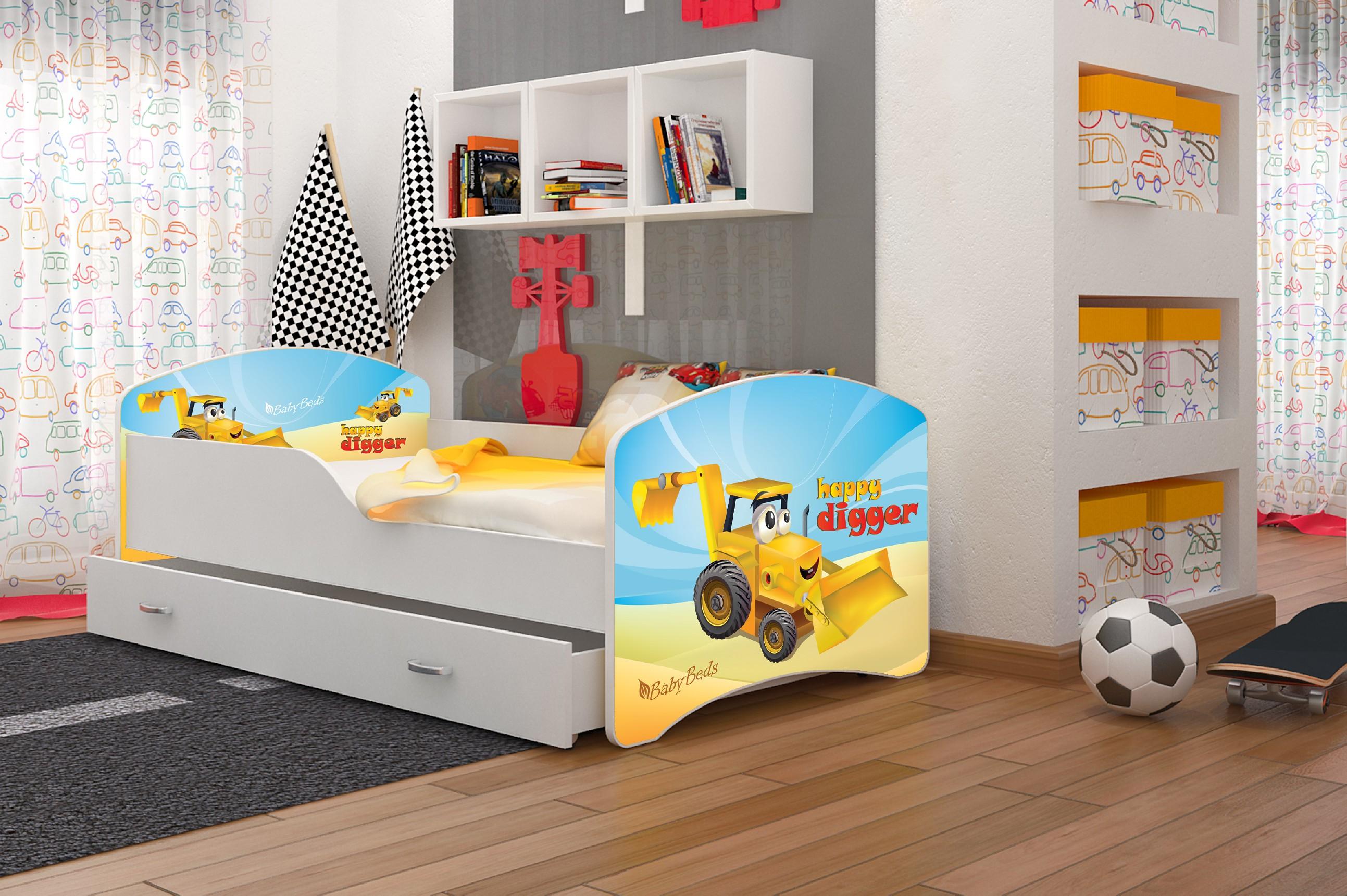 ArtAJ Detská posteľ Igor Žltý Bager 04 Cyra: 180 x 80 cm, Typ: s úložným priestorom