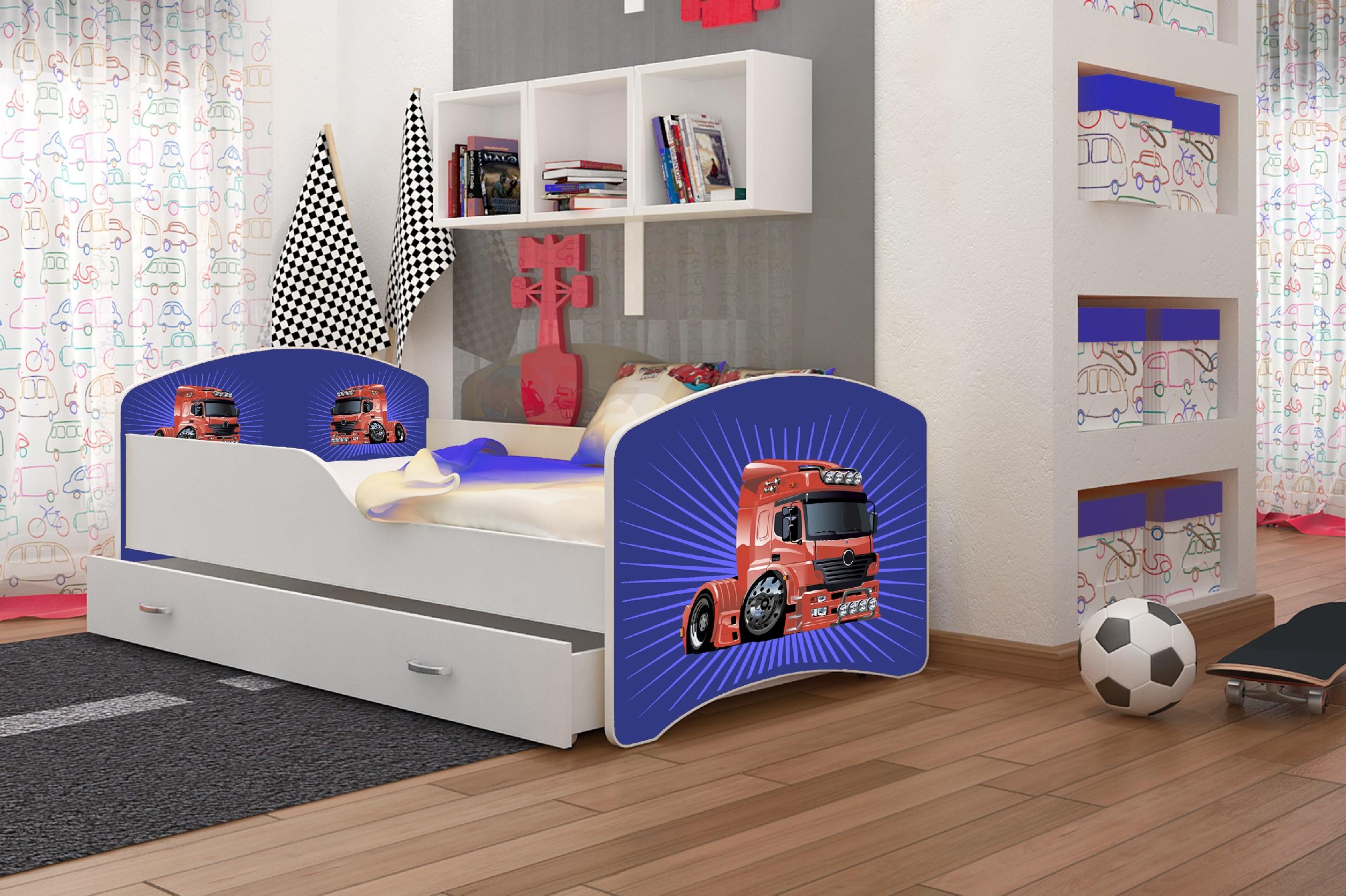 ArtAJ Detská posteľ Igor Kamión 18 Cyra: 180 x 80 cm, Typ: s úložným priestorom