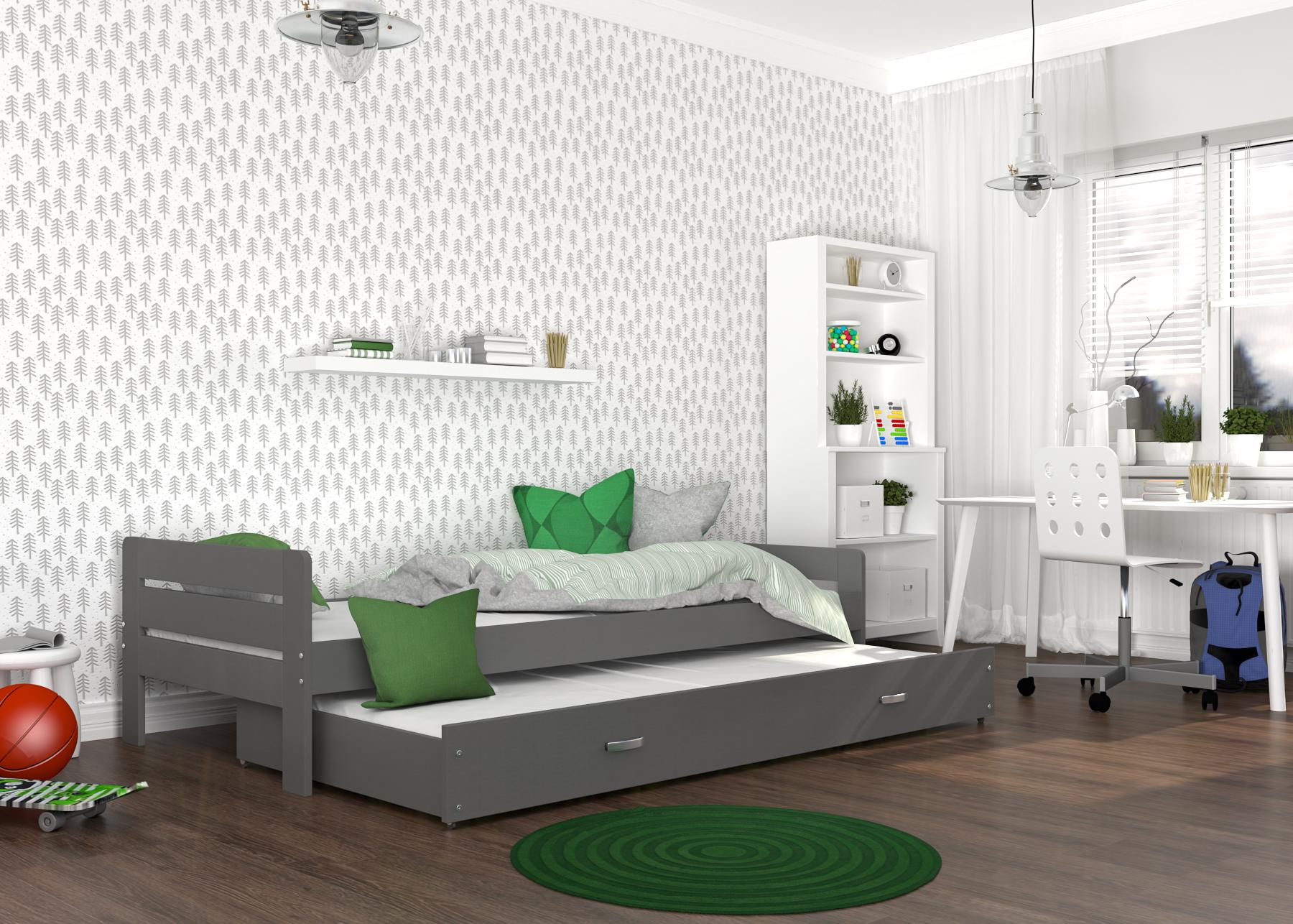 ArtAJ Detská posteľ Ben Farba: Sivá, Prevedenie: s matracom