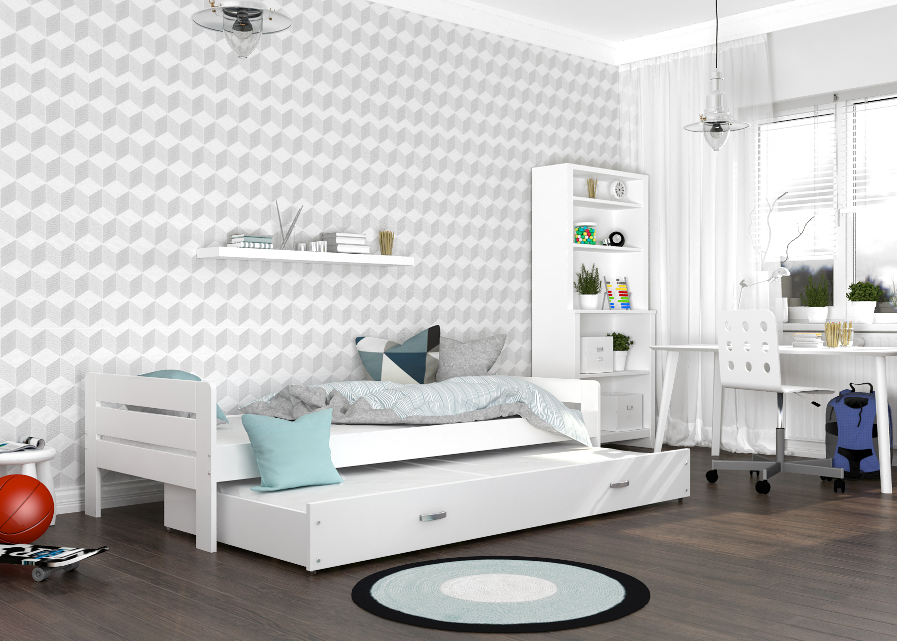 ArtAJ Detská posteľ Ben Farba: Biela, Prevedenie: s matracom