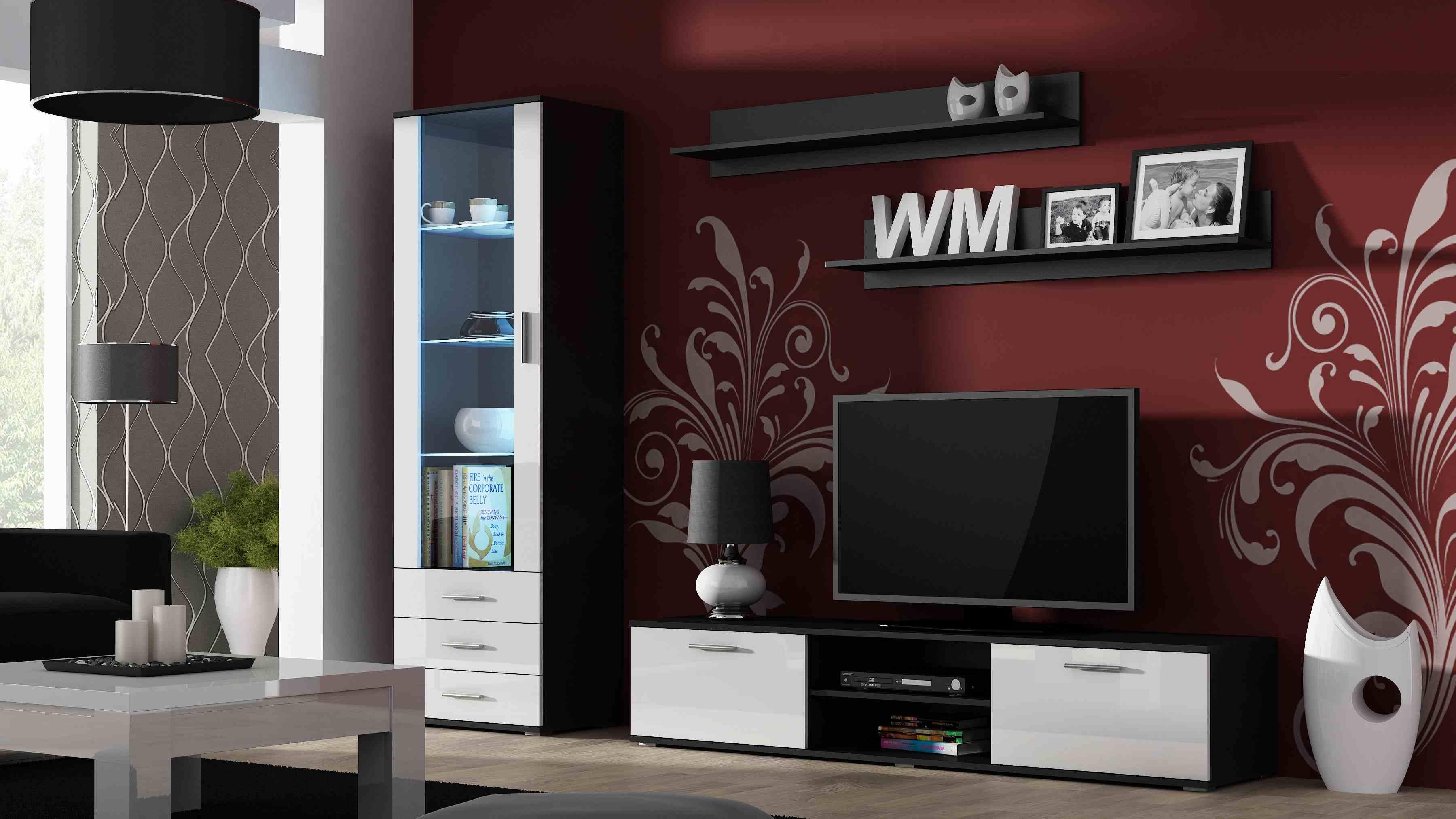 Artcam Obývacia stena Soho čierna/biely lesk
