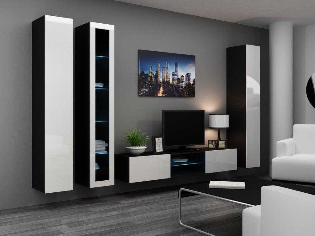 Artcam Obývacia stena Vigo 17 Farba: čierna/biely lesk