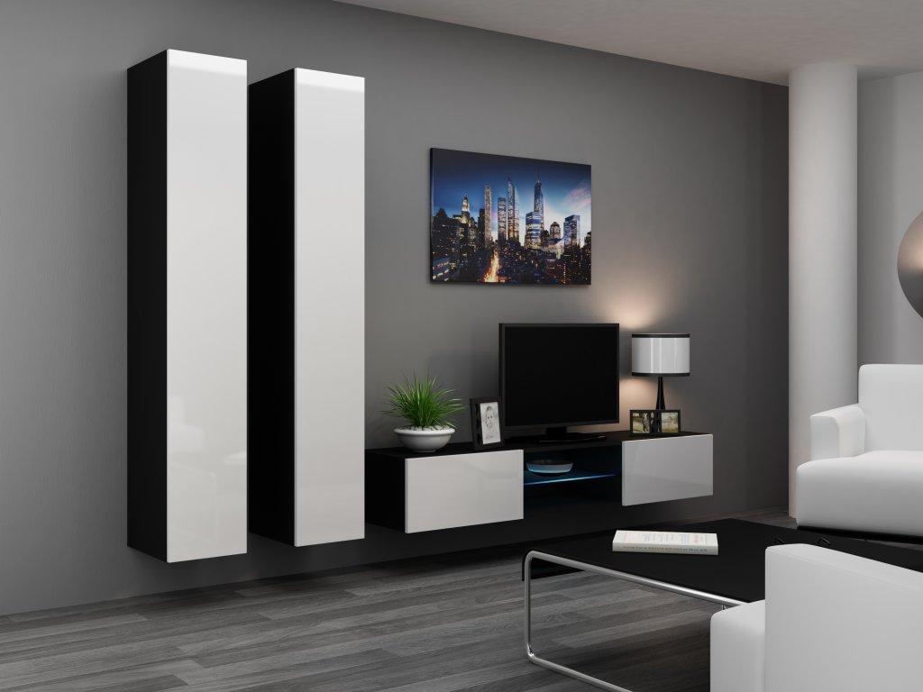 Artcam Obývacia stena Vigo 19 Farba: čierna/biely lesk