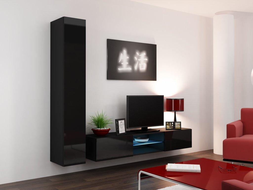 Artcam Obývacia stena Vigo 21 Farba: Čierna/čierny lesk