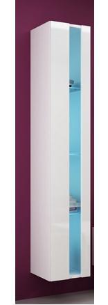 Otvorená vitrína Vigo Farba: korpus biely / dvierka biely lesk