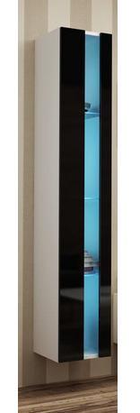 Otvorená vitrína Vigo Farba: korpus biely / dvierka čierny lesk