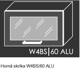 Kuchynská linka PLATINUM Kuchyňa: Horná skrinka W4BS/60 ALU - hliníkový rám skrinky (ŠxVxH) 60 x 36 x 30-32,5 cm