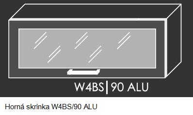 Kuchynská linka PLATINUM Kuchyňa: Horná skrinka W4BS/90 ALU - hliníkový rám skrinky / (ŠxVxH) 90 x 36 x 30-32,5 cm