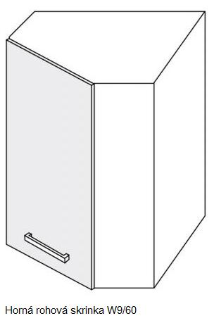 Kuchynská linka PLATINUM Kuchyňa: Rohová horná skrinka W9/60 / 60 x 60 cm