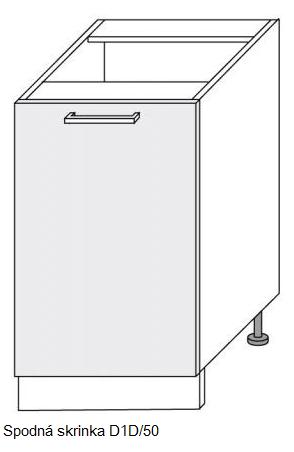 Kuchynská linka PLATINUM Kuchyňa: Spodná skrinka D1D/50 / (ŠxVxH) 50 x 82 x 50 cm