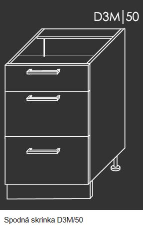 Kuchynská linka PLATINUM Kuchyňa: Spodná skrinka D3M/50 / (ŠxVxH) 50 x 82 x 50 cm